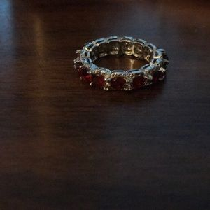 Ruby type stone and diamond type stone ring